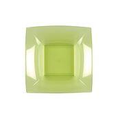 7057-76 Πιάτο σούπας πλαστικό PS τετράγωνο 18x18cm διάφανο ανοιχτό πράσινο πολυτελείας.
