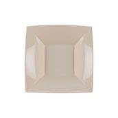 8057-41/7057-41 Πιάτο σούπας πλαστικό PP τετράγωνο 18x18cm γκρίζο-μπεζ πολυτελείας.