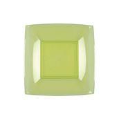 7052-76 Πιάτο γλυκού πλαστικό PS τετράγωνο 18x18cm διάφανο  ανοιχτό πράσινο πολυτελείας.