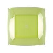 7050-76 Πιάτο φαγητού πλαστικό PS τετράγωνο 23x23cm διάφανο ανοιχτό πράσινο πολυτελείας.