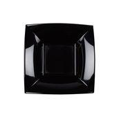 8057-19/7057-19 Πιάτο σούπας πλαστικό PP τετράγωνο 18x18cm μαύρο πολυτελείας.