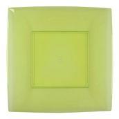 7056-76 Πιάτο φαγητού XL πλαστικό PS τετράγωνο 29x29cm διάφανο ανοιχτό πράσινο πολυτελείας.