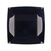7050-19 Πιάτο φαγητού πλαστικό PS τετράγωνο 23x23cm μαύρο πολυτελείας.