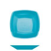 4057-33 Πιάτο σούπας βαθύ πλαστικό PP τετράγωνο 18x18cm τιρκουάζ πολυτελείας.