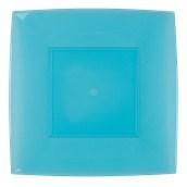 7056-73 Πιάτο φαγητού XL πλαστικό PS τετράγωνο 29x29cm διάφανο τιρκουάζ πολυτελείας.