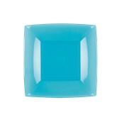 7052-73 Πιάτο γλυκού πλαστικό PS τετράγωνο 18x18cm διάφανο τιρκουάζ πολυτελείας.