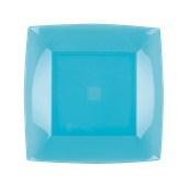 7050-73 Πιάτο φαγητού πλαστικό PS τετράγωνο 23x23cm διάφανο τιρκουάζ πολυτελείας.