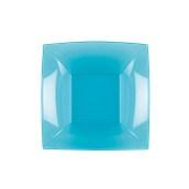 7057-73 Πιάτο σούπας πλαστικό PS τετράγωνο 18x18cm διάφανο τιρκουάζ πολυτελείας.