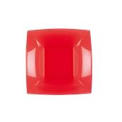 7057-28 Πιάτο σούπας πλαστικό PS τετράγωνο 18x18cm κόκκινο πολυτελείας.