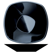 4060-19 Πιατέλα σαλάτας PP πλαστική τετράγωνη 28cm, 3 lt μαύρη πολυτελείας.