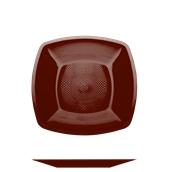 4050-39 Πιάτο φαγήτου πλαστικό PP τετράγωνο 23x23cm σοκολατί πολυτελείας.