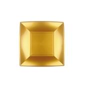 8052-020 Πιάτο γλυκού πλαστικό PP τετράγωνο 18x18cm χρυσαφί πολυτελείας.