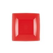 7052-28 Πιάτο γλυκού πλαστικό PS τετράγωνο 18x18cm κόκκινο πολυτελείας.