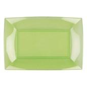 7055-76 Πιατέλα πλαστική PS ορθογώνια 34.5x23cm πράσινη πολυτελείας.