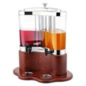 U02-0520 Διανεμητής Χυμών-Καφέ Διπλός με Ξύλινη Βάση, 2χ5 λίτρων