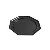V1006-19 Δίσκος Πλαστικός Παρουσίασης 27cm στρογγυλός - οκτάγωνος PET, μαύρος