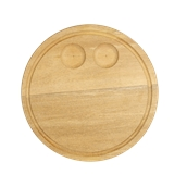 000.057 Ξύλινο Πιάτο με Λούκι και 2 Θέσειs Φ30 cm
