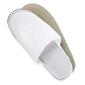 AM-502 Ζεύγος Παντόφλες πετσετέ λευκές με σόλα 5mm