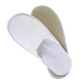 AM-501 Ζεύγος Παντόφλες πετσετέ λευκές με σόλα 3mm