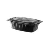 BPP-H075G Σκεύος PP Μαύρο, Μερίδας Μεσαίο, 19,5x14x4,5cm, με Διαφανές Καπάκι