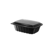 BPP-H060G Σκεύος PP Μαύρο, Μερίδας Μικρό, 16,5x,12,5x3,5cm, με Διαφανές Καπάκι PS