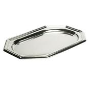 SIL00385-50 Δίσκος πλαστικός παρουσίασης 55x38cm Οκταγωνικός, Ασημί, PET, Μίας Χρήσης, Sabert