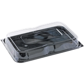 COMC9553725CN Δίσκος πλαστικός μαύρος με Καπάκι διάφανες, 55x37cm, Μίας Χρήσης, PET, Ορθογώνιο, Sabert