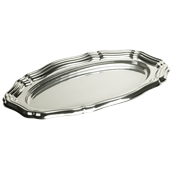 SIL00150-50 Δίσκος πλαστικός παρουσίασης 58x30cm Οβάλ, Ασημί, PET, Μίας Χρήσης, Sabert