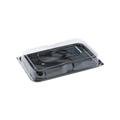 COMC9352425CN Δίσκος πλαστικός μαύρος με Καπάκι διάφανες, 35x24cm, Μίας Χρήσης, PET, Ορθογώνιο, Sabert