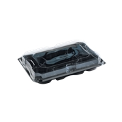 COMC935247G25C Δίσκος πλαστικός  με 7 Χωρίσματα, Μαύρος με Καπάκι Διάφανες, 35x24cm, Μίας Χρήσης, PET, Ορθογώνιο, Sabert