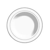 INJPLDPWS2320C10 Πιάτο Βαθύ Στρογγυλό με ασημί χείλος, Φ23cm, Λευκό, PS, Μίας Χρήσης, Σειρά mozaik, Sabert