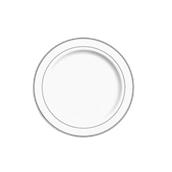 INJPLWS1920C10 Πιάτο Ρηχό Στρογγυλό με ασημί χείλος, Φ19cm, Λευκό, PS, Μίας Χρήσης, Σειρά mozaik, Sabert