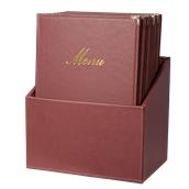 MC-BOX-CRA4-WR Θήκη-κουτί με 20 Καταλόγους MENU A4 CLASSIC 24x36cm, κόκκινη, SECURIT