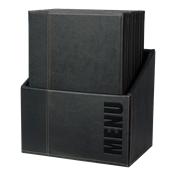 MC-BOX-TRA4-BL Θήκη-κουτί με 20 Καταλόγους MENU A4 TRENDY 24x34cm, μαύρη, SECURIT