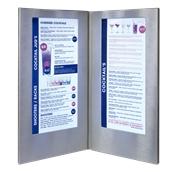 MC-LD45-SL Κατάλογος Δύο διαφανειών A4/5 με φωτισμό LED 20x35cm, ασημί SECURIT