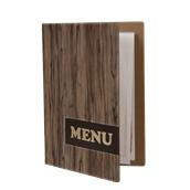 MC-DRA4-WOOD Κατάλογος MENU A4 PAISLEY για Εστιατόρια / cafe 24x34cm, σχέδιο ξύλου SECURIT