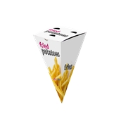 BXF-19.5X9X9 Χωνί Easy Open Πατάτας Fast Food Μεταλιζέ