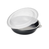 HOTCOM7712430C6 Δοχείο Τροφίμων με καπάκι, 750ml, Φ19x4cm, PP,  Μαύρο, Μίας Χρήσης, Sabert