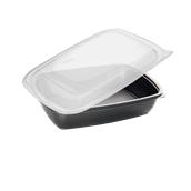 HOTCOM7813030C6 Δοχείο Τροφίμων με καπάκι, 900ml, 23x16x5cm, PP,  Μαύρο, Μίας Χρήσης, Sabert