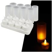 MCS-458/SET ΣΕΤ 8 Επαναφορτιζόμενα ηλεκτρικά κεριά με βάση φόρτισης και θήκες, Φ3,9x4,8 cm