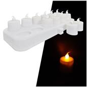 STR027/SET ΣΕΤ 12 Επαναφορτιζόμενα ηλεκτρικά κεριά με βάση φόρτισης, Φ4x6 cm