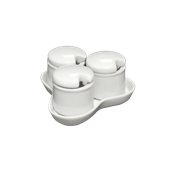 LBR-S4-150 Σετ 3x150ml βαζάκια με δισκάκι πορσελάνης 150ml,για αλάτι-πιπερι-πάπρικα κλπ Σειρά BRILLO, LUKANDA
