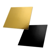 DM-30X30/BK-GD Δίσκος-Βάση Τούρτας Χάρτινη Τετράγωνη  30x30cm σε χρυσό και μαύρο χρώμα, Ιταλίας (τιμή ανά κιλό)