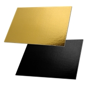 DM-30X40/BK-GD Δίσκος-Βάση Τούρτας Χάρτινη Ορθογώνια 30x40cm σε χρυσό και μαύρο χρώμα, Ιταλίας (τιμή ανά κιλό)