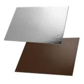 DM-30X40/CK-SI Δίσκος-Βάση Τούρτας Χάρτινη Ορθογώνια 30x40cm σε ασημί και σοκολατί χρώμα, Ιταλίας (τιμή ανά κιλό)