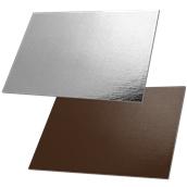 DM-35X50/CK-SI Δίσκος-Βάση Τούρτας Χάρτινη Ορθογώνια 35x50cm σε ασημί και σοκολατί χρώμα, Ιταλίας (τιμή ανά κιλό)