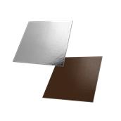DM-25X25/CK-SI Δίσκος-Βάση Τούρτας Χάρτινη Τετράγωνη 25x25cm σε ασημί και σοκολατί χρώμα, Ιταλίας (τιμή ανά κιλό)