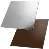 DM-40X40/CK-SI Δίσκος-Βάση Τούρτας Χάρτινη Τετράγωνη 40x40cm σε ασημί και σοκολατί χρώμα, Ιταλίας (τιμή ανά κιλό)