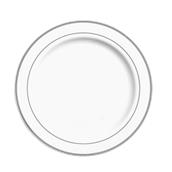 INJPLWS2620C10 Πιάτο Ρηχό Στρογγυλό με ασημί χείλος, Φ26cm, Λευκό, PS, Μίας Χρήσης, Σειρά mozaik, Sabert