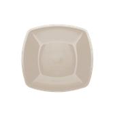 4050-41 Πιάτο φαγήτου πλαστικό PP τετράγωνο 23x23cm γκριζο-μπεζ πολυτελείας.